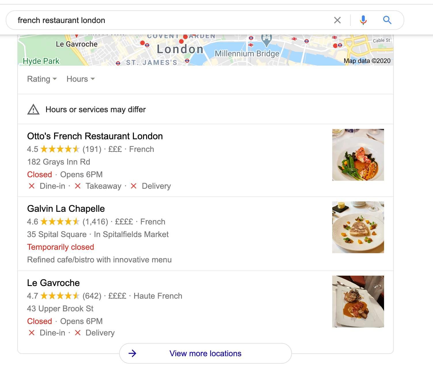 Google My Business Restaurant Options
